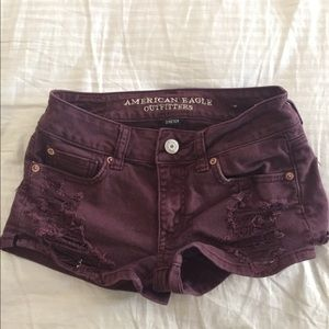 American Eagle Outfitters Burgundy Denim Shorts
